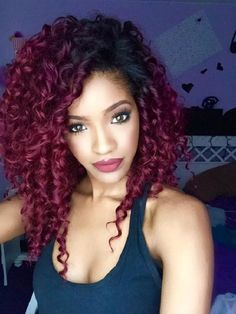 red purple curly twist natural hairstyle