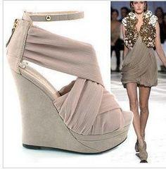 2013 Fashion Chiffon cross spirally-wound Ultra-High Platform High-heeled wedges open toe sandals shoes $22.00