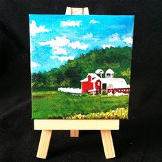 I am Samantha Vincent and I create things. Hand painted items in London, Ontario, Canada. Art - Painting and Drawings available to purchase as well as custom pieces Farm Paintings, Mini Farm, Mini Canvas, Craft Items, Easel, Hand Painted, Drawings, Frame, Crafts