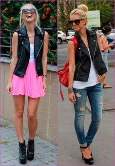 I really like that black leather sleeveless vest.