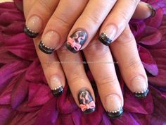Nail Art Photo Taken at:14/02/2013 12:55:10  Nail Art Photo Uploaded at:14/02/2013 16:54:18  Nail Technician:Elaine Moore  Description: Charcoal grey, black and silver striped tip freehand nail art with pink 3D acrylic bow   @ www.eyecandynails.co.uk