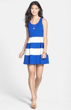 Super cute dress for summer ♡ Soprano Stripe Skirt Skater Dress (Juniors) available at #Nordstrom