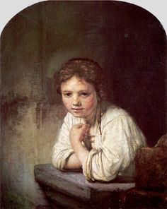 A Girl at a Window by Rembrandt van Rijn