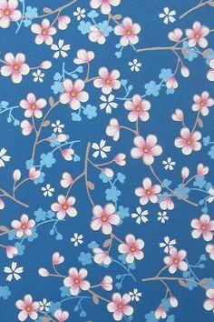 Voor onze slaapkamer PiP Cherry Blossom Donkerblauw behang
