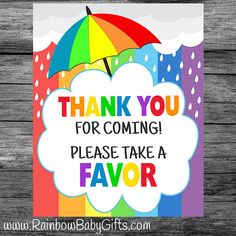 PRINTABLE Rainbow Baby Shower Thank You For by RainbowBabyGifts