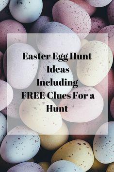 pin 'Easter Egg Hunt Ideas including clues for your own hunt' Easter Tree, Easter Eggs, Easter Egg Hunt Clues, Easter Scavenger Hunt, Resurrection Eggs, Treasure Hunt Clues, Egg Game, Egg Crafts, Kids Crafts