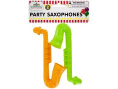 Party Saxophones, 48 - Great for celebrating and giving as party favors, this 2-piece Party Saxophones Set features mini plastic saxophones in fun, bright colors. For ages 3 and up. Comes packaged in a poly bag with a header card.-Colors: yellow,green. Material: plastic. Weight: 0.3611/unit