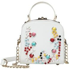 SHUAI LONG SHOULDER BAG COLORFUL BEADS FLORAL SPRING VEGAN LEATHER (€45) ❤ liked on Polyvore featuring bags, handbags, shoulder bags, shoulder handbags, beaded purse, floral shoulder bag, white handbags and faux leather purses