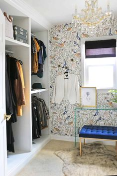 Small Space, Big Design - The Bold Closet Trend (Plus, Sara Reveals Her Master Closet Wallpaper) - Emily Henderson #mastercloset #dreamcloset #masterbedroom Closet Wallpaper, Home Wallpaper, Small Master Closet, Narrow Rooms, The Tile Shop, Big Design, Small Places, Wall Spaces, Home Staging