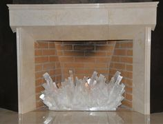Custom Selenite Fireplace Sculpture by Kathryn McCoy Designs Crystals And Gemstones, Stones And Crystals, Selenite Crystals, Natural Gemstones, Fireplace Filler, Empty Fireplace Ideas, Fireplace Logs, Bedroom Fireplace, Crystal Furniture