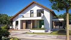 PROIECT CASĂ MICĂ CU MANSARDĂ | House Design Modern Exterior House Designs, A Frame Cabin, Design Case, Home Fashion, House Plans, Scale, Mansions, House Styles, Outdoor Decor