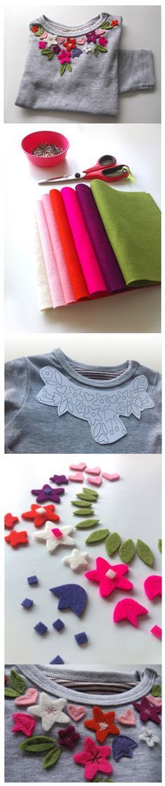 Refashion t-shirt with felt flowers Felt Crafts, Fabric Crafts, Sewing Crafts, Sewing Projects, Diy Crafts, Sewing Diy, Felt Diy, Handmade Crafts, Sewing Hacks