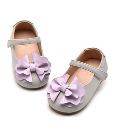 Flower Bow Knot Shoes-High Quality, Comfort & Soft! Beautiful Flower Bow Knot Applique Baby Infant Toddler Little & Big Girl Strap Flat Round Toe Wedding Birthday Shoes. Material: Synthetic Leather & Rubber. Color: Apricot & Gray. Please choose your little girl size by Insole length.