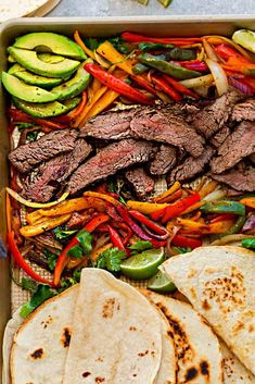 Sheet Pan Steak Fajitas are tender, juicy and full of flavor and perfect for busy weeknights! Best of all, options for low carb and keto with a homemade fajita spice blend and cilantro lime marinade. Beef Fajita Recipe, Steak Fajita Marinade, Easy Steak Fajitas, Steak Recipes, Paleo Recipes, Cooking Recipes, Best Meat For Fajitas, Healthy Fajitas, Salads