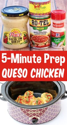 Crockpot Chicken Recipes - Easy Slow Cooker Queso Chicken! This flavor-packed dish is the EASIEST dinner you'll make all week!  Enjoy it with a side of rice or chips... or shred it and use for tacos, burrito bowls, or nachos!  Just 5 minutes of prep, 5 ingredients and you're done!  Go grab the recipe and give it a try this week! Top Crockpot Recipes, Slow Cooker Recipes, Beef Recipes, Cooking Recipes, Healthy Recipes, Slow Cooker Dinners, Easy Crockpot Meals, Flour Recipes, Cooking Videos