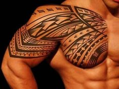 Arm and Chest Great Tribal Tattoos for Men                                                                                                                                                                                 Más