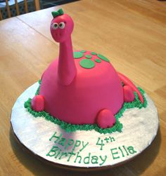 Chocolate cake with chocolate ganache filling for a little girl who wanted a pink dinosaur cake for her 4th birthday