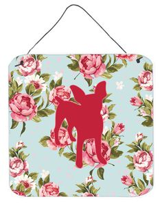 Chihuahua Shabby Chic Blue Roses Wall or Door Hanging Prints BB1108