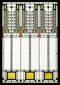 "Frank Lloyd Wright - stained glass design sometimes called ""Tree of Life"", also known as a ""Wheat"" pattern"