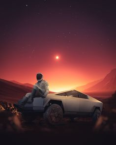 SpaceX's Starman resting at his Tesla Cybertruck on Mars by Indian space artist Eashan Misra. Tesla Motors, Nikola Tesla, Cyberpunk Art, Cyberpunk Fashion, Truck Art, Elon Musk, Retro Art, Electric Cars, Concept Cars