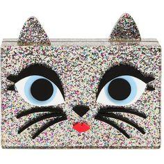 Karl Lagerfeld Women Choupette Glittered Pvc Box Clutch found on Polyvore featuring bags, handbags, clutches, bolsas, silver, hard clutch, glitter purse, karl lagerfeld, shoulder strap handbags and glitter box clutch