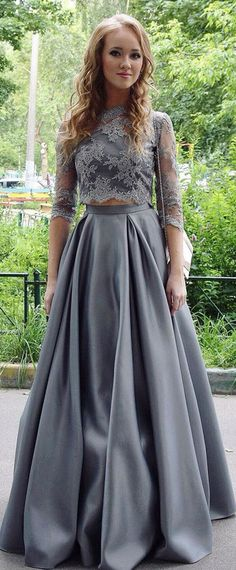 Modest Tulle & Satin Jewel Neckline Two Pieces A-Line Prom Dress With Lace Appliques,128