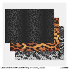 Chic Animal Print Collection Wrapping Paper Sheets