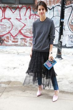 27 Clever Ways to Layer Skirts Over Pants and Dresses | StyleCaster                                                                                                                                                                                 More
