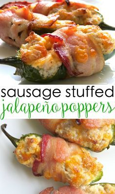 These best ever bacon wrapped jalapeño poppers are insanely delicious! They are stuffed with sausage and cream cheese and wrapped in bacon and melted cheese. Great for tailgating, too. finger food recipes appetizers bacon wrapped jalapeno poppers