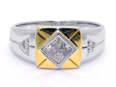 14k White Gold Men's Princess Cut & Round Cut Diamond .16ct Band Ring size 10.25 by AntiqueJewelryLine on Etsy