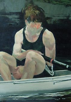 Title: Reflection. Oil painting of a male rower.