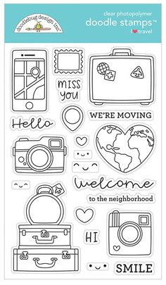 Welcome your new neighbors or let everyone know that you're moving when you use the I Heart Travel Collection Clear Photopolymer Stamps by Doodlebug Design. Bullet Journal Designs, Bullet Journal Travel, Bullet Journal Writing, Bullet Journal Ideas Pages, Bullet Journal Inspiration, Printable Stickers, Planner Stickers, Scrapbooking Stickers, Travel Doodles