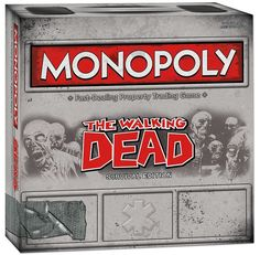 Monopoly The Walking Dead Survival Edition Combines the timeless board game with today's hottest horror hit Compete for, then fortify, the prime real estate and resources that will sustain your life For 2-6 players age 13+ Features 6 collectible Walking Dead-themed tokens, optional speed play and a fight to the finish