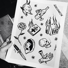 """Here's a Halloween flash sheet by @lmariera. Tattoos between 100$ and 120$. First arrived/first served. See you un the 28th of october! Lets get spooky…"""