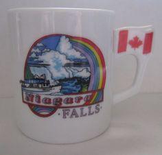 SOUVENIR+NIAGARA+FALLS+Mini+Mug+with+Canadian+and+American+Flag+Handles