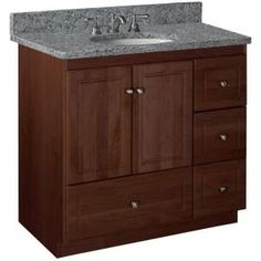 Simplicity by Strasser Ultraline 36 in. W x 21 in. D x 34-1/2 in. H Door Style Vanity Cabinet Only in Dark Alder