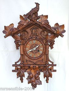 Antique Beha / Ketterer 112 Black Forest Double Fusee Cuckoo Clock Antique Mantle Clock, Study Pictures, Wood Carving Patterns, Side Door, Black Forest, Im Not Perfect, Cuckoo Clocks, Two By Two, Antiques