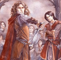 """On a time, when Túrin was grown to manhood and returned to Doriath from war with the Orcs, he came to dinner with the King. There Saeros insulted him, saying, """"If the Men of Hithlum are so wild and fell, of what sort are the women of that land? Do they run like deer clad only in their own hair?"""""""