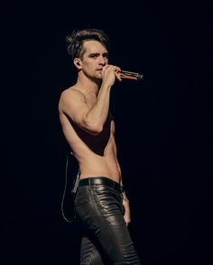 Brendon Urie of Panic! At The Disco Eye Candy, The Wombats, Tight Leather Pants, Leather Trousers, Panic! At The Disco, Emo Bands, Music Bands, Thing 1, My Chemical Romance