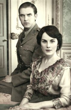 matthew + mary  :: downton abbey me\DL the realistic dower pose/performance of the actors in the still period photograph is a very nice touch to break a portal in a one sheet 4th wall/horcrux