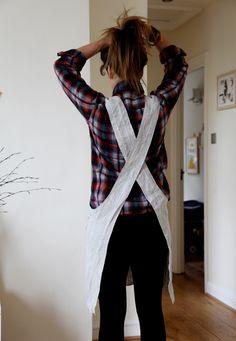 DIY : un tuto pour coudre un joli tablier en lin (modèle femme ou enfant) avec des mesures en cm et en inches