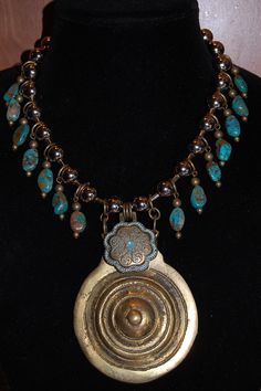 One of kind upcycled horse bridle medallion statement necklace by Menono Designs (find us on facebook)