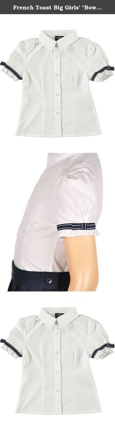 """French Toast Big Girls' """"Bow Stitch"""" S/S Button-Down Shirt - white, 20. This button-down shirt by French Toast is a comfortable school classic. It features a pointed collar, princess seaming, and ruffled trim on the short sleeves. Pretty grosgrain ribbon and bow accents add sweet style. The crisp fabric blend gives her a wrinkle-free, tailored look. 55% Cotton, 45% Polyester Machine Wash Cold Made in Bangladesh."""