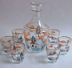 1950s vintage French drinks DECANTER SHOT GLASS SET barware Eames