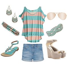 teal stripe, created by carolewall on Polyvore