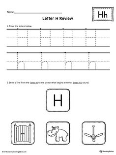 Letter H Review Worksheet Worksheet.Use the Letter H Review worksheet to help your student practice tracing and identifying the beginning sound of the letter H.