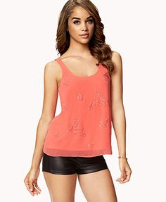 Floral Beaded Woven Tank Top | FOREVER 21 - 2057776128