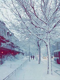 Place Saint-Henri, Montréal, sous la neige