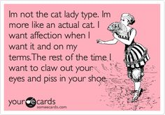 Funny Confession Ecard: Im not the cat lady type. Im more like an actual cat. I want affection when I want it and on my terms.The rest of the time I want to claw out your eyes and piss in your shoe.