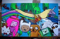 Adventure Time - Perler bead picture project by mininete on deviantART. It's 213 x 126 beads (106.5 x 63 cm or 25 x 42 in) and contains a total of 26.838 beads